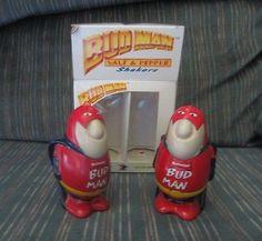Sold! Anheuser Busch Budweiser Bud Man Salt Pepper Shakers Set w/ Box Ceramarte Brazil
