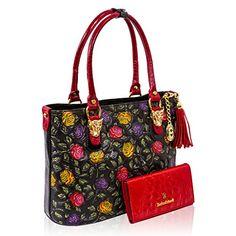 Marino Orlandi Italian Designer Handpainted Red Roses Leather Tote & Wallet Set