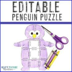 EDITABLE Penguin Activities or Centers - Make your own Math or Literacy Puzzles! |  1st, 2nd, 3rd, 4th, 5th, 7th, 8th grade, Activities, English Language Arts, Fun Stuff, Games, Homeschool, Math, Middle School, Winter