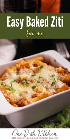 Baked Ziti For One - a single serving version of classic Italian American comfort food. Pasta baked with ground beef, tomato sauce, and plenty of cheese. Easy to make and incredibly delicious! Italian Dishes, Italian Recipes, Beef Recipes, Cooking Recipes, Kraft Recipes, Detox Recipes, Baked Ziti With Ricotta, Easy Baked Ziti, Single Serve Meals