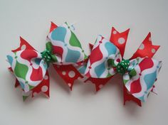Baby Christmas Bow Set Holiday Hair Clip set of 2 bows for baby and toddlers red and green and teal by ransomletterhandmade, $10.00