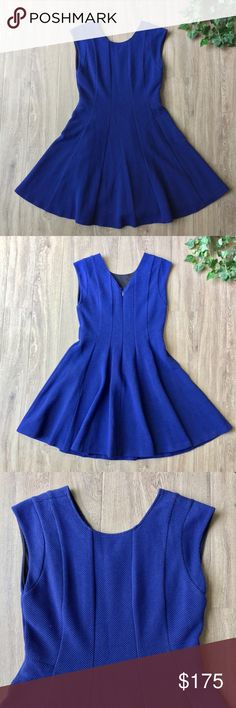 """NWT Rebecca Taylor blue textured fit & flare dress A captivating fit and flare dress in a deep royal blue creates the perfect date night or cocktail party dress.  * NWT * Textured deep royal blue * Scoop neck * Slight v-back * Fit & flare with vertical lines for structure * Hidden back zipper * Lined * Bust: 16 1/2"""" approx. laying flat * Length: 36"""" approx. laying flat * Shell: 58% cotton, 35% polyester, 7% elastane * Lining: 100% polyester * Dry clean  * Bundle discount * No trades * Smoke…"""