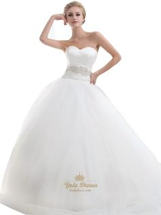 lindadress.com Offers High Quality Ivory Sweetheart Dropped Waist Tulle Wedding Dresses With Beaded Waist,Priced At Only USD USD $240.00 (Free Shipping)
