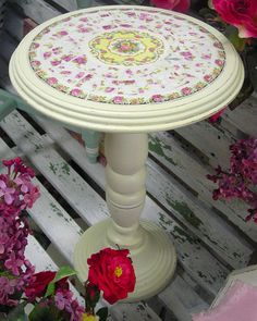 Small Shabby Pedestal Table Pink Rose Mosaic