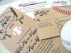 Vintage baseball wedding invitation set