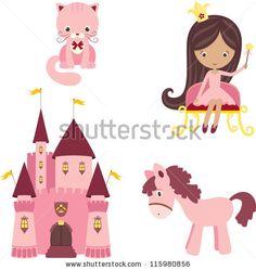 Vector illustration of pink princess design elements by Natalie-art, via Shutterstock