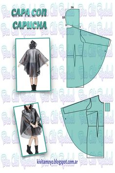 KiVita MoYo: HOODED COAT Related posts:Knows stitches, everyone knows the knowledge skills and habits in line Free Headband Tutorials - TestedPink and black Easy Sewing Patterns, Clothing Patterns, Dress Patterns, Techniques Couture, Sewing Techniques, Sewing Clothes, Diy Clothes, Cape Pattern, Iranian Women Fashion