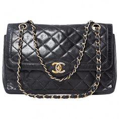8462f1326b0d Preloved Vintage 1975 Chanel Classic Timeless Rare Gold and Silver Hardware  quilted lambskin leather Medium Double Flap Bag Rare Gold and Silver CC  hardware