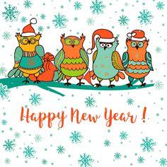 HNY Christmas Owls, Owl Art, Winter Wonderland, Happy New Year, Special Occasion, Snoopy, Spirit, Seasons, Holidays