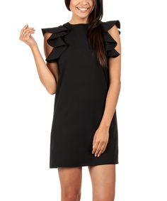 Look at this Black Ruffle-Sleeve Shift Dress on #zulily today!