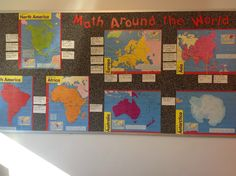 """Mission: Math: A big shout out to Ana Haywood and her """"Math Around the World"""" web page.  I'm planning to implement these worksheets this year as well as add to the collection.  It's pretty amazing and I don't even want to know how much time she put into it!  created a bulletin board for the worksheets, highlighting the countries.  I'm really going to encourage my students to take part in filling out the board completely so that we can cover all of the continents."""