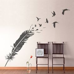 feather and birds vinyl wall sticker by making statements | notonthehighstreet.com