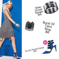 Stand out in the crowd with the adorable Change your Stripes Dress and accessories! #Avon #Fashion#markgirl #shoes,  @Avonlady1984 thanks for creating this amazing collage!