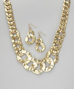 Take a look at this Matte Gold Necklace & Earrings by Gabrielle Jewelry on #zulily today!