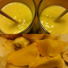 Banana, mango and melon smoothie  1. Freeze fruits 2. Blend fruits with 2 cups soy milk or coconut water 3. Enjoy