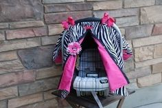Zebra and Hot Pink Carseat Canopy Perfect for that Newborn Baby RTS. $36.99, via Etsy.