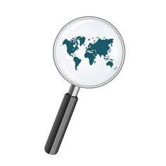 world map and magnify glass @creativework247