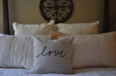 Love pillow cover. Linen looking cotton pillow cover. Pillow insert not included.