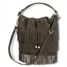 Women's Suede Fringe Bucket Handbag with Detachable Shoulder Strap - Olive