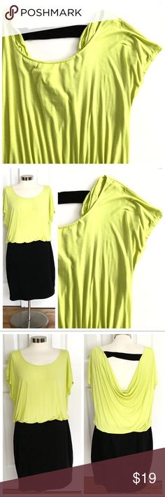 Forever 21 Shortsleeve Dress Forever 21 plus size dress. Shortsleeve with keyhole back and draping material. Bright chartreuse top with black bottom. Size 1X. Forever 21 Dresses