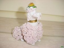 VINTAGE ADORABLE PINK SPAGHETTI FRENCH POODLE WEARING FRENCH BERET