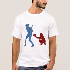 Hitter and Catcher Playing Baseball T-Shirt - click/tap to personalize and buy Baseball T Shirt Designs, Sport T Shirt, Catcher, Shirt Style, Sports, Mens Tops, Stuff To Buy, Hs Sports, Sport