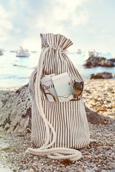 coastal cool. striped drawstring bag. beach pebbles// My heart skips a beat every time I see the beach!