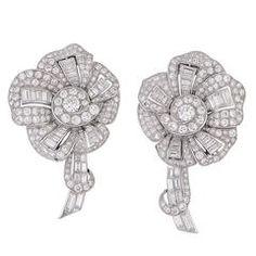 Pair of Art Deco Diamond Platinum Lapel Clips