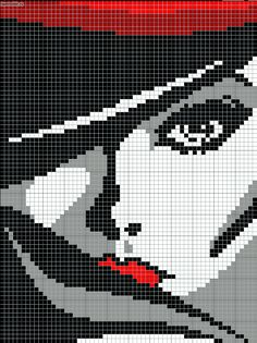 Woman with red lips pattern / chart for cross stitch, knitting, knotting, beading, weaving, pixel art, and other crafting projects.