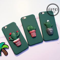 New Cool cartoon Green Potted plant cactus back case cover for iphone 6 6S plus…