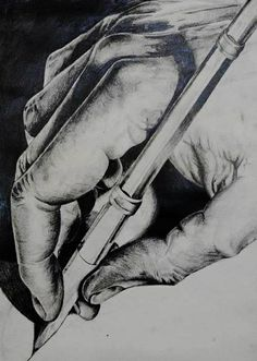 I have looked at MC. Escher's 'drawing hands' which has been drawn with pencil adding precise details on the hands with the light shining directly from the right hand side of the corner. For my study I decided to use pencil tonal to explore similar marks and have taken a section focusing on one hand.