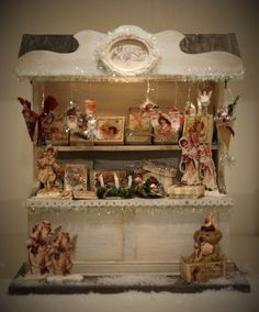 Exquisite shabby chic miniature Christmas Market Stall (German Christmas Shoppe) Multiple images.