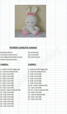 "con A de artesanía: Patrón Conejita Kawaii ""Amigurumi Kawaii Bunny - FREE Crochet Pattern / Tutorial in Spanish"" Easter Crochet Patterns, Crochet Bunny Pattern, Crochet Amigurumi Free Patterns, Crochet Dolls, Free Crochet, Knitting Patterns, Kawaii Bunny, Diy Crafts Crochet, Crochet Unicorn"