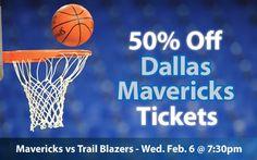 $20 (50% off) Dallas Mavericks Tickets vs Portland Trail Blazers Wed. Feb. 6 @ 7:30pm - Crowd Seats Cheap Sports Tickets