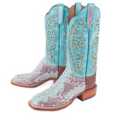 Rod's Exclusive Lucchese Amethyst Python Boots