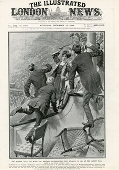 """On 5 December 1908, hundreds of Suffragettes protested as David Lloyd-George attempted to give a speech at the Royal Albert Hall. He had promised to discuss """"Votes for Women"""" but as he failed to do this, hundreds of women popped up around the Hall shouting """"Deeds not Words"""" and what about """"Votes for Women"""". This picture shows Scottish Suffragette, Helen Ogston who tried to defend herself against the violence of Liberal party stewards. From SuffragetteLife FB page."""
