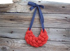 Rope necklace / Statement rope necklace in Red and Blue $29