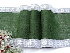 Christmas table runner Green, Evergreen burlap table runner with white and silver snowflake lace, Rustic Christmas table decor