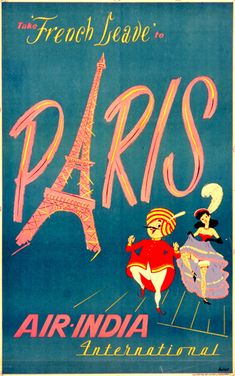 Vintage Travel Poster for Air India International,  Paris