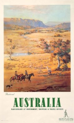 Pastoral, Australia, - Vintage Travel Poster by James Northfield Vintage Advertising Posters, Vintage Travel Posters, Vintage Postcards, Vintage Advertisements, Retro Posters, Commonwealth, Posters Australia, Australian Vintage, Australian Bush