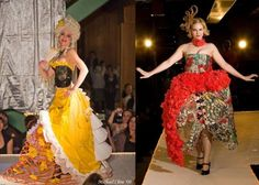 """""""The fashions and accessories to be showcased at the shows will be made from materials like construction fencing, food packaging, inner tubes, soda pop top chainmail, or plastic grocery bags woven, crocheted, pleated or sewn.""""  Repurposed Fashion 