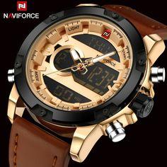 US $113.40 - Top Brand Naviforce Fashion Men Leather Military Watch Men's Quartz Analog Led Digital Sport Wrist Watch relogio masculino+Box
