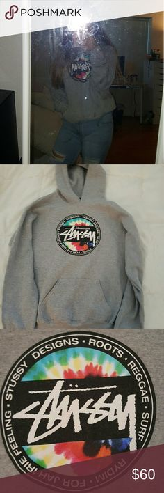 Stussy Grey Tie-dye Hoodie (zumiez) Men's Small but fits Women small/med/large Worn, but undamaged Bought at zumiez but you can't buy it there anymore It's hella cute Stussy Tops Sweatshirts & Hoodies