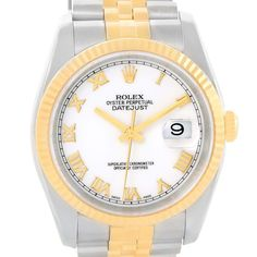 Rolex Datejust Steel 18K Yellow Gold White Roman Dial Watch 116233
