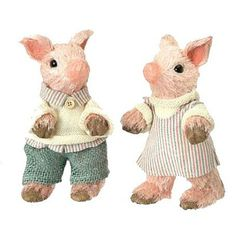 """Dressed+Easter+Piglet+Set+of+2+Size:+8""""+Material:+Sisal+Whimsical+piglets+all+dressed+up+for+Easter.+Boy+dressed+in+burlap+pants+and+girl+dressed+in+striped+dress.+Set+includes+one+of+"""