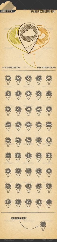 Drawn Vector Map Pins #GraphicRiver A set of cute hand drawn pins. Features: • 100 % customizable vectors • 100 % scaleable • Global colour swatches – change colour with 1 click • 4 different file types: AI, EPS, PSD and PNG • Also great for print projects This Download contains: • Fully layered native Adobe Illustrator File (AI) • Fully layered Illustrator 10 EPS • Scaleable Adobe Photoshop file (PSD) using Vector Smart Object • 4 PNG files: 72 dpi, 150 dpi, 300 dpi, 60