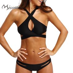 Missomo Women Cross Straps Bra Set Black Sexy Cut Out Bralette Panties Underwear Summer Beach Bikinis