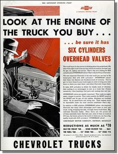 1933 Chevy Trucks Six Cylinder Overhead Valves Take A Look at The Engine Ad | eBay