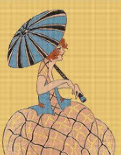 Girl with Blue Parasol Cross Stitch Pattern, Edwardian Fashion Counted Cross Stitch Chart, Instant PDF Digital Download
