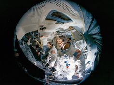 Apollo 9 astronauts Jim McDivitt (front) and Rusty Schweickart inside the lunar module mission simulator at the Kennedy Space Center. Apollo 9 flew in March Credit: NASA Mission Apollo 11, Apollo 9, Apollo Missions, Moon Missions, Programme Apollo, Apollo Program, Bigelow Aerospace, Apollo Spacecraft, Universe Today